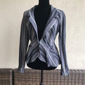 Free People Rumble Stripe Gray Linen Blend Jacket